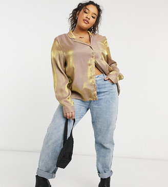 Lola May Curve satin shirt in gold
