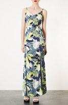 Leaf Print Cutout Maxi Dress