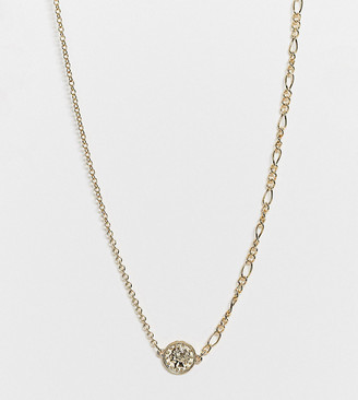 Accessorize Exclusive asymmetric necklace in gold with disc pendant