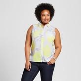 Merona Women's Plus Size Sleeveless Button Up Blouse Pineapple Print White