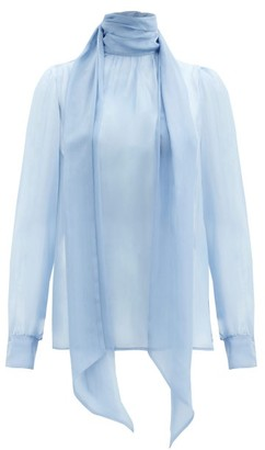 Saint Laurent Tie-neck Silk-chiffon Blouse - Light Blue