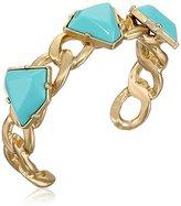 Sam Edelman Gold-Tone Chain and Stone Cuff Bracelet