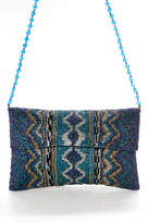Moyna Blue Purple Silver Beaded One Pocket Clutch Handbag