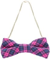 Peppercorn Kids Plaid Bow Necklace - Pink-One Size