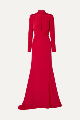 BURNETT NEW YORK Cutout Silk-crepe Gown - Red