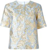 MSGM metallic jacquard T-shirt - women - Polyamide/Polyester/Metallic Fibre - 40
