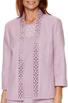 Alfred Dunner Lavender Fields 3/4-Sleeve Novelty Jacket