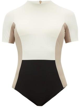 Vaara Cheyenne Colour-block Swimsuit - Womens - Cream Multi