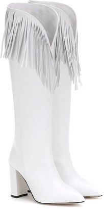 Paris Texas Fringed leather knee-high boots