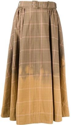 MSGM Check Gradient Midi Skirt