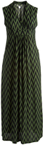 Glam Green & Black Chevron Surplice Dress - Plus