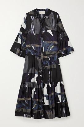 MUNTHE Emmanuel Tiered Printed Matte-satin Midi Shirt Dress - Black