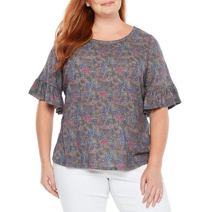 + + 3-4 Sleeve Hatchi Floral Blouse - Plus