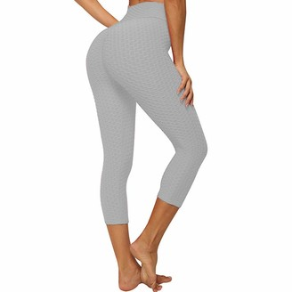 SotRong Women's High Waist Yoga Pants Tummy Control Workout Ruched Butt Lifting Stretchy Capris Gym Leggings Textured Booty Tights Grey L