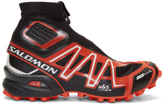 Salomon Black and Red Snowcross Adv LTD High-Top Sneakers