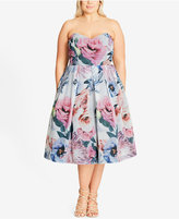 City Chic Trendy Plus Size Floral Fit & Flare Dress
