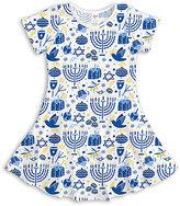 Urban Smalls Blue & White Hanukkah Skater Dress - Toddler & Girls