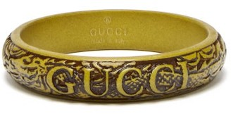 Gucci Logo And Snake Carved Resin Bangle - Green