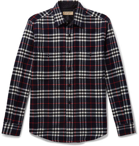 Burberry Checked Wool and Cotton-Blend Shirt - Men - Navy