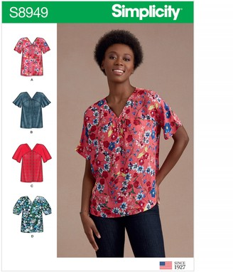 Simplicity Women's Button Through Tops Sewing Pattern, 8949