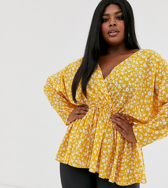 Asos DESIGN Curve batwing sleeve top with tie waist in ditsy floral print-No Colour