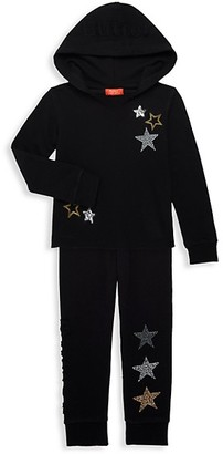 Butter Shoes Little Girl's 2-Piece Embellished Star Hoodie Joggers Set