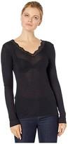 Hanro Woolen Lace Long Sleeve Shirt (Black) Women's T Shirt