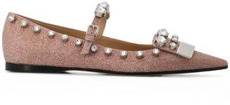 Sergio Rossi Crystal-Embellished Ballerina Shoes