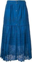 Sea embroidered pleated skirt