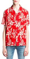Saint Laurent Hibiscus-Print Hawaiian Shirt, Red