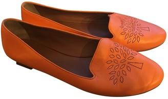 Mulberry Orange Leather Flats