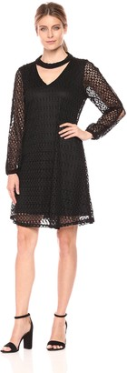 Robbie Bee Women's All Over Crochet Long Sleeve Shift Dress with Collar Neck