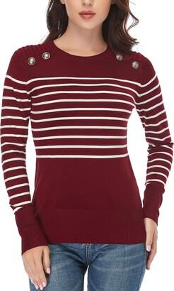 Dilgul Striped Top Women Jumper Long Sleeve Sweater Crew Neck Knitted Pullover Tops Shirt Black Medium