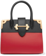 Prada Cahier Small Two-tone Leather Tote - Red