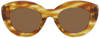 Loewe Brown and Tan Butterfly Circular Sunglasses