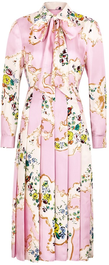 Tory Burch Pink floral-print silk midi dress