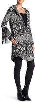 Haute Hippie Leather Fringe Jacquard Coat