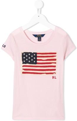 Ralph Lauren Kids flag embroidered T-shirt