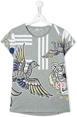 Kenzo TEEN bird-print striped T-shirt