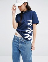 Reebok Classics High Neck T-Shirt With Vector Print In Navy