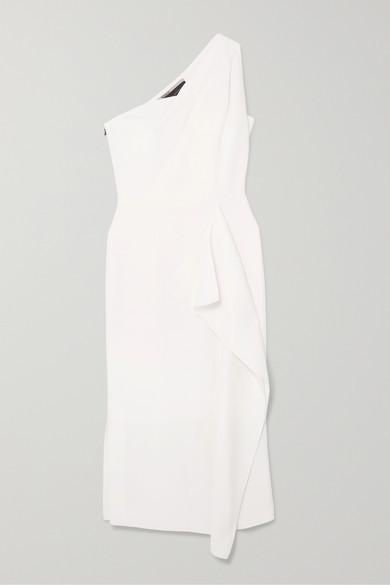 Thumbnail for your product : Roland Mouret Rivoli One-shoulder Draped Wool-crepe Midi Dress - White