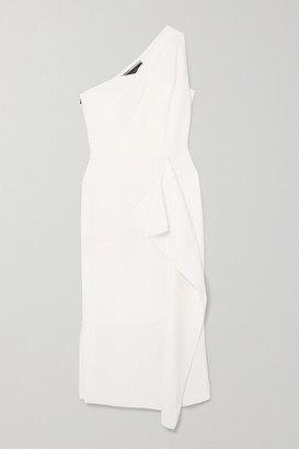 Roland Mouret Rivoli One-shoulder Draped Wool-crepe Midi Dress - White