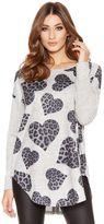 Quiz Grey Light Knit Leopard Print Heart Jumper