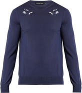 Alexander McQueen Hummingbird-embroidered wool sweater