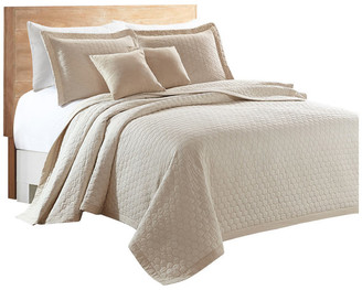 Sherry Kline Rombo Embroidered 3-piece Quilt Set, Taupe, King