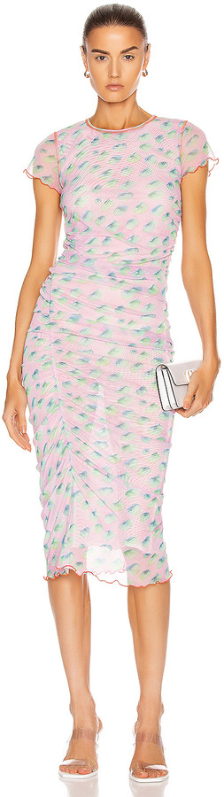 Sandy Liang Cubes Dress in Sky Lily   FWRD