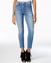 GUESS High-Rise Medium Wash Ripped Skinny Jeans