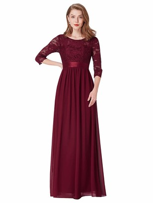 Ever Pretty Ever-Pretty Women's Round Neck 3/4 Sleeves A Line Empire Waist Lace Elegant Maxi Evening Party Dresses Black 14UK