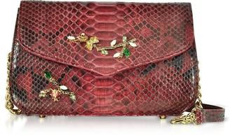 Ghibli Ruby Red Python Leather Medium Shoulder Bag w/Crystals