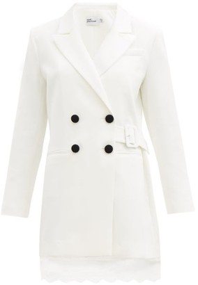 Self-Portrait Double-breasted Crepe Blazer Dress - White